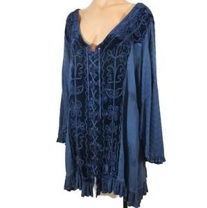 Holy Clothing renaissance blue lace up tunic 4X